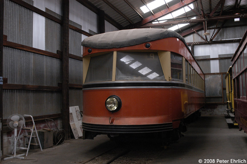 (164k, 864x574)<br><b>Country:</b> United States<br><b>City:</b> Perris, CA<br><b>System:</b> Orange Empire Railway Museum <br><b>Car:</b>  127 <br><b>Photo by:</b> Peter Ehrlich<br><b>Date:</b> 6/15/2008<br><b>Notes:</b> Bamberger Bullet 127.<br><b>Viewed (this week/total):</b> 2 / 288