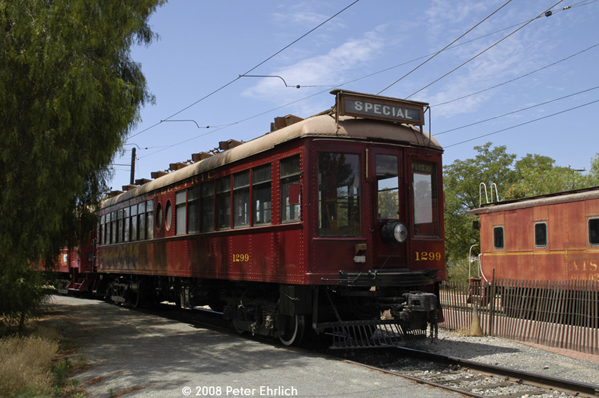 (192k, 864x574)<br><b>Country:</b> United States<br><b>City:</b> Perris, CA<br><b>System:</b> Orange Empire Railway Museum <br><b>Car:</b>  1299 <br><b>Photo by:</b> Peter Ehrlich<br><b>Date:</b> 6/15/2008<br><b>Notes:</b> South of Pinacate Station.<br><b>Viewed (this week/total):</b> 1 / 751