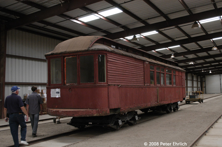 (164k, 864x574)<br><b>Country:</b> United States<br><b>City:</b> Perris, CA<br><b>System:</b> Orange Empire Railway Museum <br><b>Car:</b>  530 <br><b>Photo by:</b> Peter Ehrlich<br><b>Date:</b> 6/14/2008<br><b>Notes:</b> Inside Barn 7.  Built 1909.  New addition to Museum since 2007.<br><b>Viewed (this week/total):</b> 1 / 1349