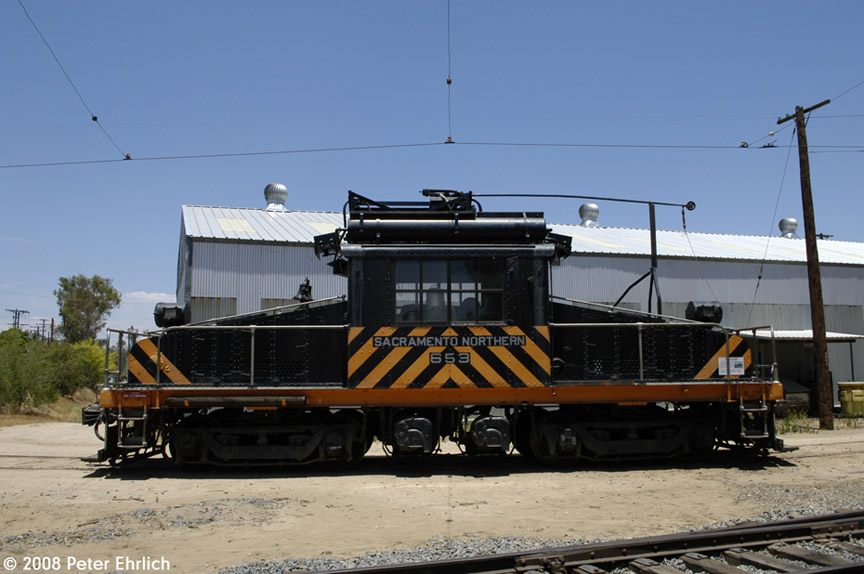 (160k, 864x574)<br><b>Country:</b> United States<br><b>City:</b> Perris, CA<br><b>System:</b> Orange Empire Railway Museum <br><b>Car:</b>  653 <br><b>Photo by:</b> Peter Ehrlich<br><b>Date:</b> 6/15/2008<br><b>Notes:</b> Sacramento Northern steeplecab loco 653.<br><b>Viewed (this week/total):</b> 1 / 696