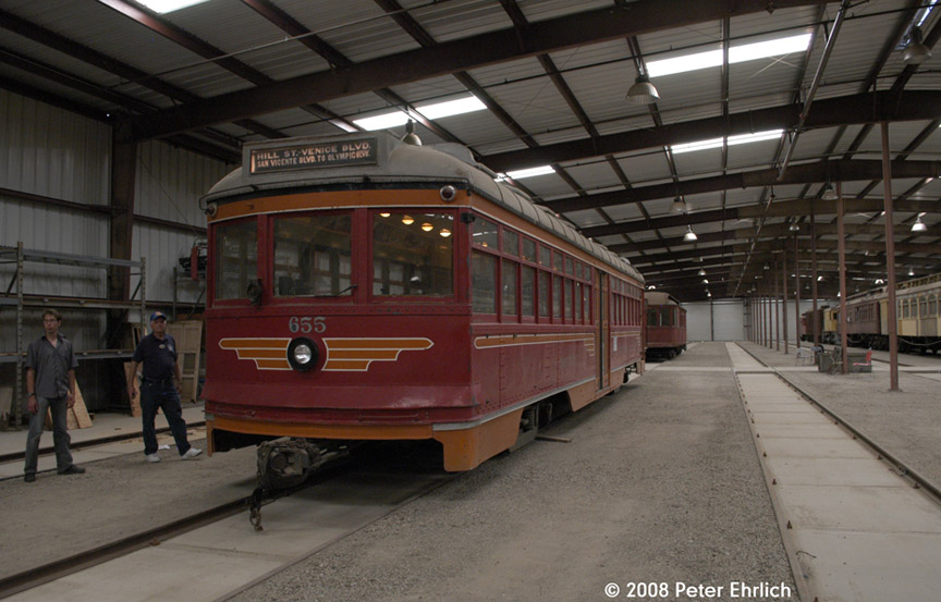 (166k, 864x553)<br><b>Country:</b> United States<br><b>City:</b> Perris, CA<br><b>System:</b> Orange Empire Railway Museum <br><b>Car:</b>  655 <br><b>Photo by:</b> Peter Ehrlich<br><b>Date:</b> 6/14/2008<br><b>Notes:</b> Hollywood 655; Inside new Barn 7.   This car was converted to rubber-tire operation after retirement in 1954, and has returned to the rails following purchase in 2007.<br><b>Viewed (this week/total):</b> 3 / 605