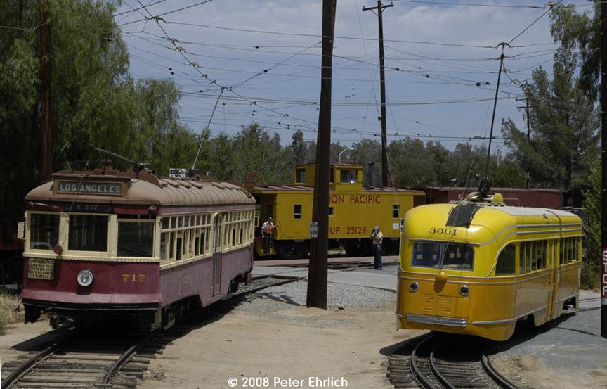 (191k, 864x553)<br><b>Country:</b> United States<br><b>City:</b> Perris, CA<br><b>System:</b> Orange Empire Railway Museum <br><b>Car:</b>  717 <br><b>Photo by:</b> Peter Ehrlich<br><b>Date:</b> 6/15/2008<br><b>Notes:</b> Hollywood car 717; South of Pinacate Station.  With LARy PCC 3001 on loop line.<br><b>Viewed (this week/total):</b> 1 / 873