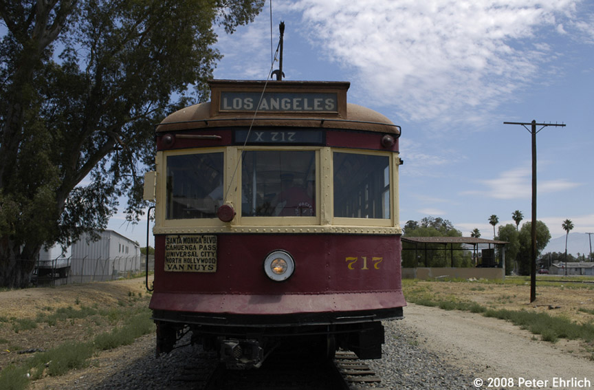 (180k, 864x567)<br><b>Country:</b> United States<br><b>City:</b> Perris, CA<br><b>System:</b> Orange Empire Railway Museum <br><b>Car:</b>  717 <br><b>Photo by:</b> Peter Ehrlich<br><b>Date:</b> 6/15/2008<br><b>Notes:</b> Hollywood car 717; At north end of line, near downtown Perris.<br><b>Viewed (this week/total):</b> 0 / 287