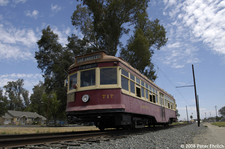 (199k, 864x574)<br><b>Country:</b> United States<br><b>City:</b> Perris, CA<br><b>System:</b> Orange Empire Railway Museum <br><b>Car:</b>  717 <br><b>Photo by:</b> Peter Ehrlich<br><b>Date:</b> 6/15/2008<br><b>Notes:</b> Hollywood car 717; At north end of line, near downtown Perris.<br><b>Viewed (this week/total):</b> 2 / 382