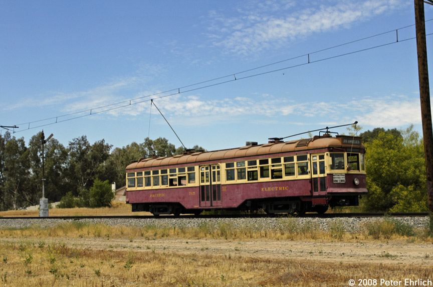 (198k, 864x574)<br><b>Country:</b> United States<br><b>City:</b> Perris, CA<br><b>System:</b> Orange Empire Railway Museum <br><b>Car:</b>  717 <br><b>Photo by:</b> Peter Ehrlich<br><b>Date:</b> 6/15/2008<br><b>Notes:</b> Hollywood car 717; On main line south of north end of line outbound.<br><b>Viewed (this week/total):</b> 0 / 266
