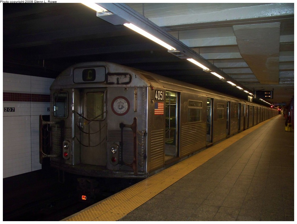 (172k, 1044x788)<br><b>Country:</b> United States<br><b>City:</b> New York<br><b>System:</b> New York City Transit<br><b>Line:</b> IND 8th Avenue Line<br><b>Location:</b> 207th Street <br><b>Route:</b> C reroute<br><b>Car:</b> R-38 (St. Louis, 1966-1967)  4051 <br><b>Photo by:</b> Glenn L. Rowe<br><b>Date:</b> 7/8/2008<br><b>Viewed (this week/total):</b> 0 / 804