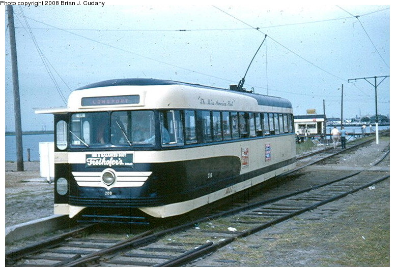 (148k, 776x536)<br><b>Country:</b> United States<br><b>City:</b> Atlantic City, NJ<br><b>System:</b> Atlantic City Transit<br><b>Car:</b> Atlantic City Brilliner (J.G. Brill, 1940) 208 <br><b>Photo by:</b> Brian J. Cudahy<br><b>Date:</b> 8/1954<br><b>Notes:</b> Atlantic City Brilliner No. 208 at Longport, NJ<br><b>Viewed (this week/total):</b> 2 / 786