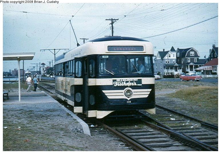 (158k, 773x537)<br><b>Country:</b> United States<br><b>City:</b> Atlantic City, NJ<br><b>System:</b> Atlantic City Transit<br><b>Car:</b> Atlantic City Brilliner (J.G. Brill, 1940) 208 <br><b>Photo by:</b> Brian J. Cudahy<br><b>Date:</b> 8/1954<br><b>Notes:</b> Atlantic City Brilliner No. 208 at Longport, NJ<br><b>Viewed (this week/total):</b> 5 / 1933