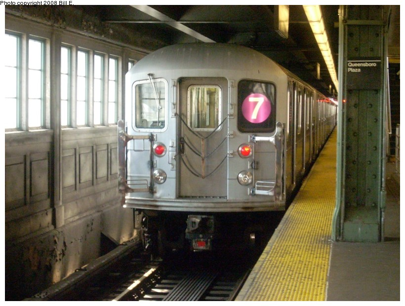 (170k, 820x620)<br><b>Country:</b> United States<br><b>City:</b> New York<br><b>System:</b> New York City Transit<br><b>Line:</b> IRT Flushing Line<br><b>Location:</b> Queensborough Plaza <br><b>Route:</b> 7<br><b>Car:</b> R-62A (Bombardier, 1984-1987)   <br><b>Photo by:</b> Bill E.<br><b>Date:</b> 7/8/2008<br><b>Viewed (this week/total):</b> 0 / 1167