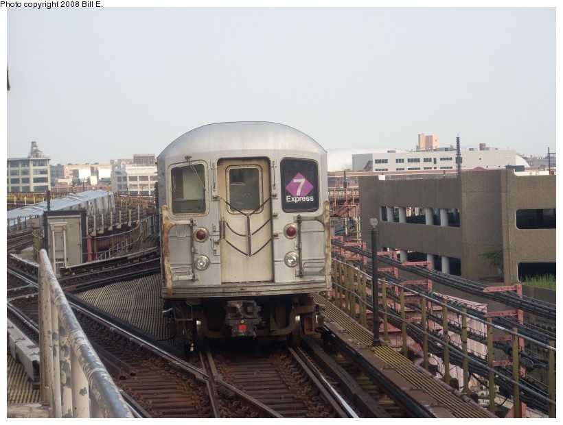 (156k, 820x620)<br><b>Country:</b> United States<br><b>City:</b> New York<br><b>System:</b> New York City Transit<br><b>Line:</b> IRT Flushing Line<br><b>Location:</b> Queensborough Plaza <br><b>Route:</b> 7<br><b>Car:</b> R-62A (Bombardier, 1984-1987)   <br><b>Photo by:</b> Bill E.<br><b>Date:</b> 7/8/2008<br><b>Viewed (this week/total):</b> 0 / 1181