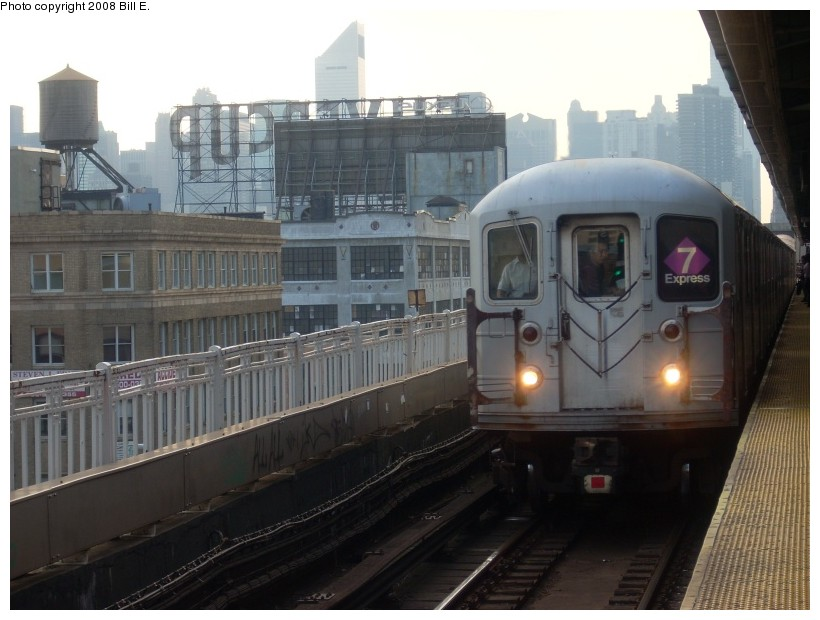 (148k, 820x620)<br><b>Country:</b> United States<br><b>City:</b> New York<br><b>System:</b> New York City Transit<br><b>Line:</b> IRT Flushing Line<br><b>Location:</b> Queensborough Plaza <br><b>Route:</b> 7<br><b>Car:</b> R-62A (Bombardier, 1984-1987)   <br><b>Photo by:</b> Bill E.<br><b>Date:</b> 7/8/2008<br><b>Viewed (this week/total):</b> 1 / 1096