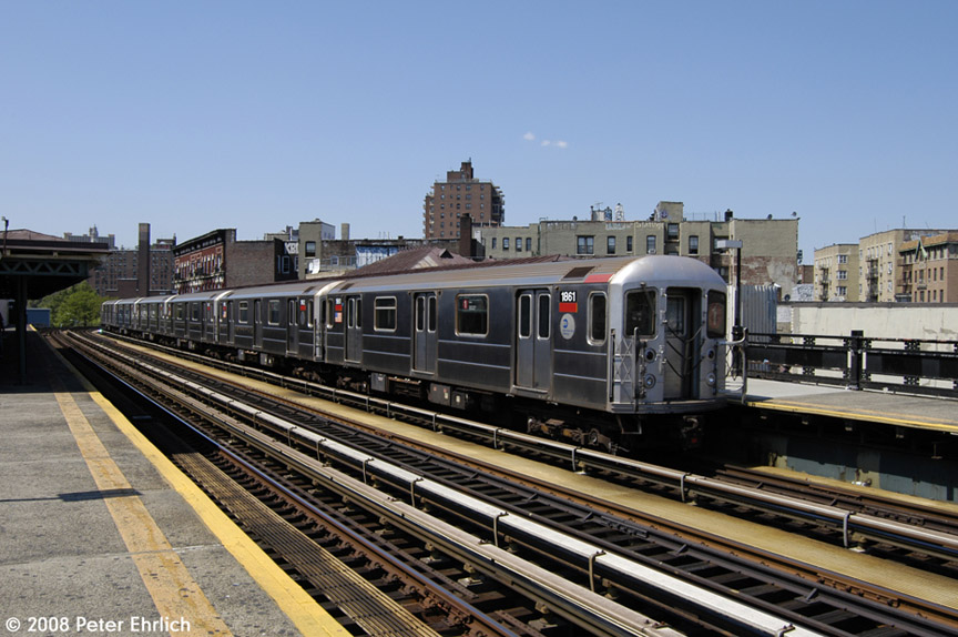 (193k, 864x574)<br><b>Country:</b> United States<br><b>City:</b> New York<br><b>System:</b> New York City Transit<br><b>Line:</b> IRT West Side Line<br><b>Location:</b> 207th Street <br><b>Car:</b> R-62A (Bombardier, 1984-1987)  1861 <br><b>Photo by:</b> Peter Ehrlich<br><b>Date:</b> 7/15/2008<br><b>Notes:</b> Train leaving, trailing view.<br><b>Viewed (this week/total):</b> 3 / 934