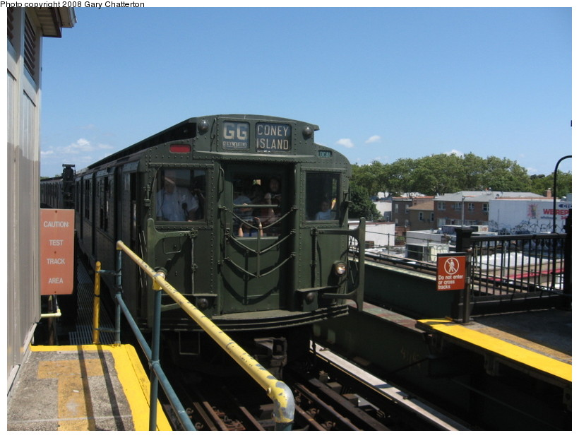 (125k, 820x620)<br><b>Country:</b> United States<br><b>City:</b> New York<br><b>System:</b> New York City Transit<br><b>Line:</b> BMT Culver Line<br><b>Location:</b> Kings Highway <br><b>Route:</b> Transit Museum Nostalgia Train<br><b>Car:</b> R-9 (Pressed Steel, 1940)  1802 <br><b>Photo by:</b> Gary Chatterton<br><b>Date:</b> 7/13/2008<br><b>Notes:</b> R9 1802 dressed up as 1689 (car equipment maintainer's joke?). The real 1689 is at Shore Line Trolley Museum.<br><b>Viewed (this week/total):</b> 0 / 1165