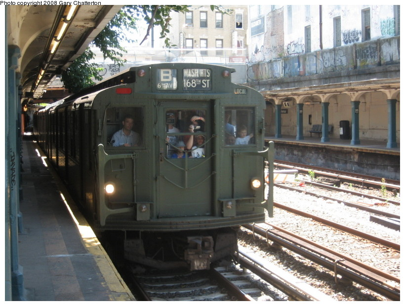 (154k, 820x620)<br><b>Country:</b> United States<br><b>City:</b> New York<br><b>System:</b> New York City Transit<br><b>Line:</b> BMT Sea Beach Line<br><b>Location:</b> 20th Avenue <br><b>Route:</b> Transit Museum Nostalgia Train<br><b>Car:</b> R-9 (Pressed Steel, 1940)  1802 <br><b>Photo by:</b> Gary Chatterton<br><b>Date:</b> 7/13/2008<br><b>Notes:</b> R9 1802 dressed up as 1689 (car equipment maintainer's joke?). The real 1689 is at Shore Line Trolley Museum.<br><b>Viewed (this week/total):</b> 2 / 1838