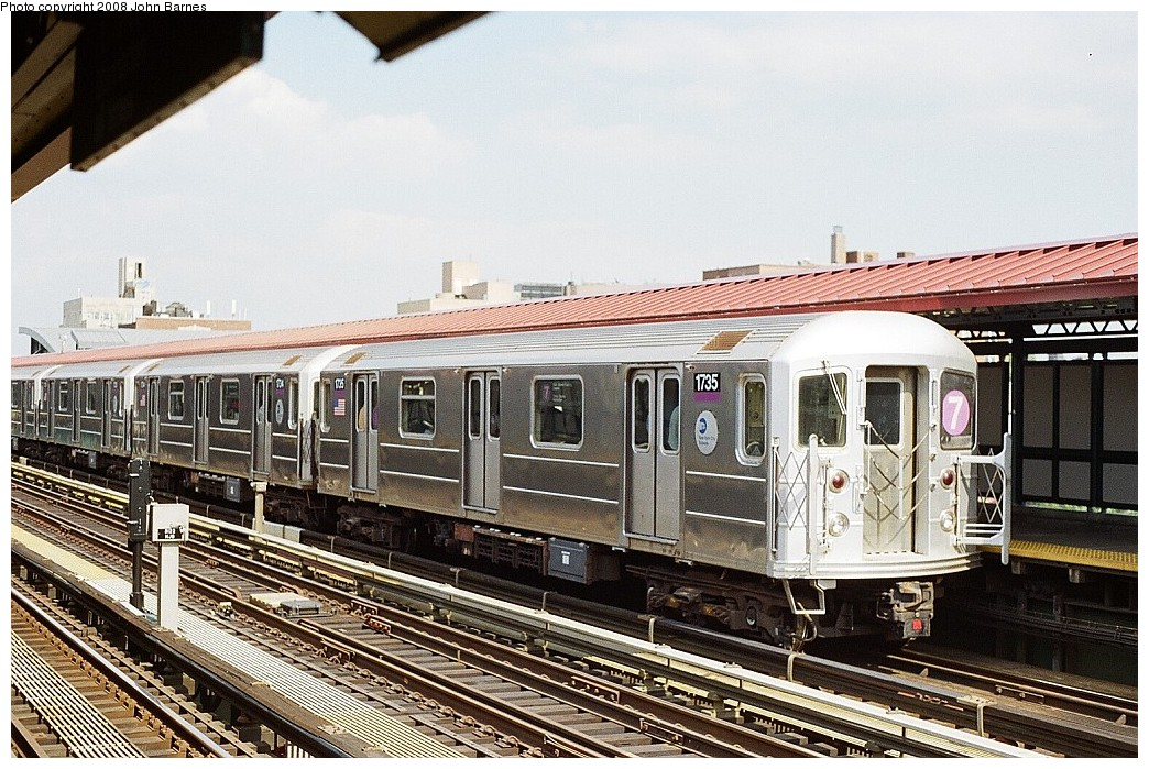 (268k, 1044x699)<br><b>Country:</b> United States<br><b>City:</b> New York<br><b>System:</b> New York City Transit<br><b>Line:</b> IRT Flushing Line<br><b>Location:</b> 74th Street/Broadway <br><b>Route:</b> 7<br><b>Car:</b> R-62A (Bombardier, 1984-1987)  1735 <br><b>Photo by:</b> John Barnes<br><b>Date:</b> 7/15/2008<br><b>Viewed (this week/total):</b> 0 / 1308