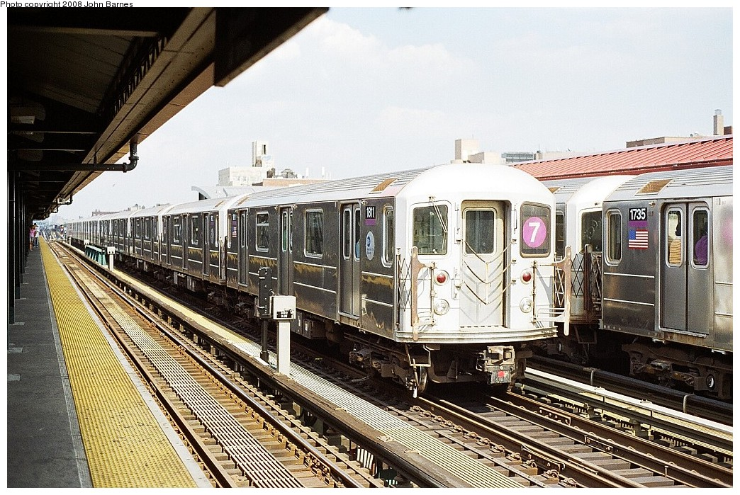 (295k, 1044x699)<br><b>Country:</b> United States<br><b>City:</b> New York<br><b>System:</b> New York City Transit<br><b>Line:</b> IRT Flushing Line<br><b>Location:</b> 74th Street/Broadway <br><b>Route:</b> 7<br><b>Car:</b> R-62A (Bombardier, 1984-1987)  1811 <br><b>Photo by:</b> John Barnes<br><b>Date:</b> 7/15/2008<br><b>Viewed (this week/total):</b> 1 / 859