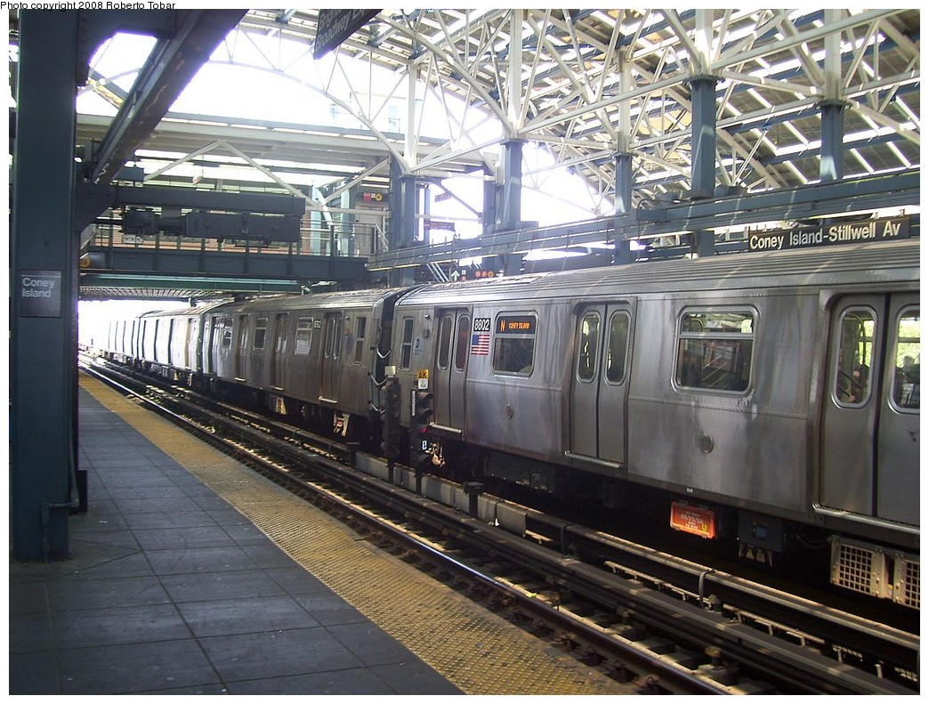 (278k, 1044x791)<br><b>Country:</b> United States<br><b>City:</b> New York<br><b>System:</b> New York City Transit<br><b>Location:</b> Coney Island/Stillwell Avenue<br><b>Route:</b> N<br><b>Car:</b> R-160B (Kawasaki, 2005-2008)  8802 <br><b>Photo by:</b> Roberto C. Tobar<br><b>Date:</b> 7/19/2008<br><b>Viewed (this week/total):</b> 0 / 1431