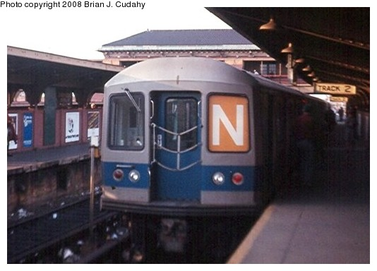(62k, 534x384)<br><b>Country:</b> United States<br><b>City:</b> New York<br><b>System:</b> New York City Transit<br><b>Location:</b> Coney Island/Stillwell Avenue<br><b>Route:</b> N<br><b>Car:</b> R-40M (St. Louis, 1969)   <br><b>Photo by:</b> Brian J. Cudahy<br><b>Date:</b> 2/1970<br><b>Notes:</b> Track 2, Stillwell Avenue.<br><b>Viewed (this week/total):</b> 9 / 2000