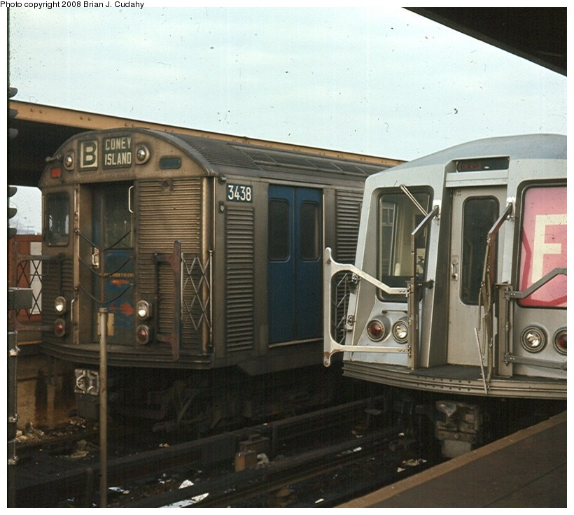 (150k, 820x736)<br><b>Country:</b> United States<br><b>City:</b> New York<br><b>System:</b> New York City Transit<br><b>Location:</b> Coney Island/Stillwell Avenue<br><b>Route:</b> B<br><b>Car:</b> R-32 (Budd, 1964)   <br><b>Photo by:</b> Brian J. Cudahy<br><b>Date:</b> 11/1969<br><b>Notes:</b> R-32 units in B Train service and R-40s on the F Train at Stillwell.<br><b>Viewed (this week/total):</b> 3 / 1735