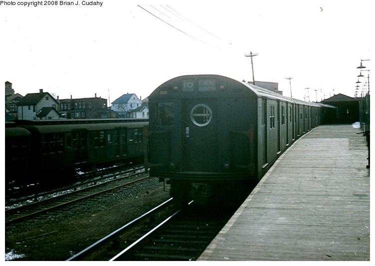 (92k, 751x533)<br><b>Country:</b> United States<br><b>City:</b> New York<br><b>System:</b> New York City Transit<br><b>Location:</b> Rockaway Parkway (Canarsie) Yard<br><b>Route:</b> BMT 16 (L)<br><b>Car:</b> R-16 (American Car & Foundry, 1955)  <br><b>Photo by:</b> Brian J. Cudahy<br><b>Date:</b> 5/1958<br><b>Viewed (this week/total):</b> 0 / 1438