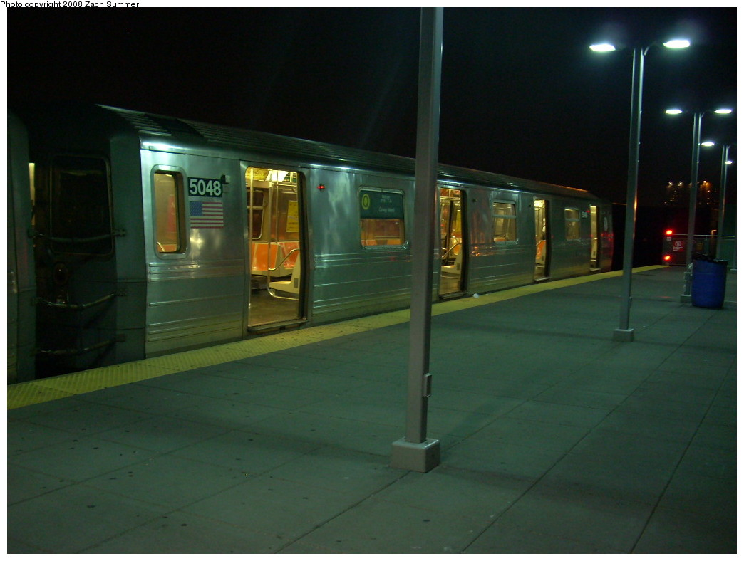 (191k, 1044x788)<br><b>Country:</b> United States<br><b>City:</b> New York<br><b>System:</b> New York City Transit<br><b>Location:</b> Coney Island/Stillwell Avenue<br><b>Route:</b> Q<br><b>Car:</b> R-68A (Kawasaki, 1988-1989)  5048 <br><b>Photo by:</b> Zach Summer<br><b>Date:</b> 7/3/2008<br><b>Viewed (this week/total):</b> 1 / 1362
