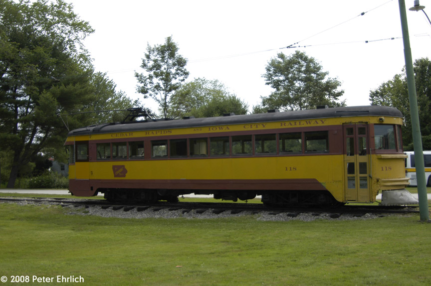 (171k, 864x574)<br><b>Country:</b> United States<br><b>City:</b> Kennebunk, ME<br><b>System:</b> Seashore Trolley Museum <br><b>Car:</b>  118 <br><b>Photo by:</b> Peter Ehrlich<br><b>Date:</b> 7/18/2008<br><b>Notes:</b> Crandic 118. At Museum Entrance.<br><b>Viewed (this week/total):</b> 2 / 654