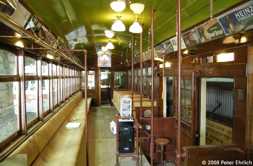(233k, 864x569)<br><b>Country:</b> United States<br><b>City:</b> Kennebunk, ME<br><b>System:</b> Seashore Trolley Museum <br><b>Car:</b>  1227 <br><b>Photo by:</b> Peter Ehrlich<br><b>Date:</b> 7/18/2008<br><b>Notes:</b> Cleveland Railways Center-Entrance 1227. Interior.<br><b>Viewed (this week/total):</b> 1 / 689