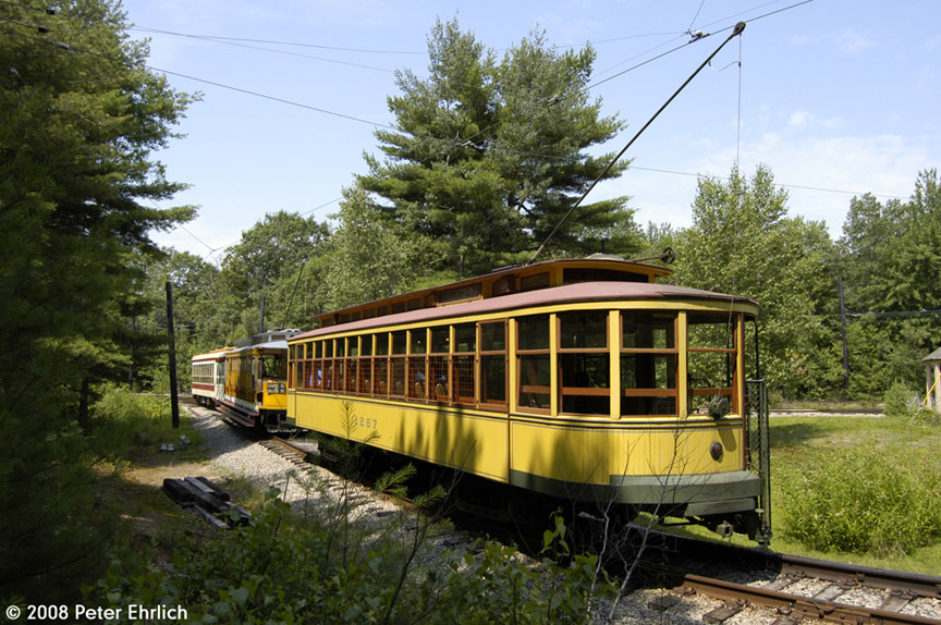 (239k, 864x574)<br><b>Country:</b> United States<br><b>City:</b> Kennebunk, ME<br><b>System:</b> Seashore Trolley Museum <br><b>Car:</b> Twin City Rapid Transit 1267 <br><b>Photo by:</b> Peter Ehrlich<br><b>Date:</b> 7/18/2008<br><b>Notes:</b> Twin City Rapid Transit 1267. At Talbot Park. With Connecticut 303 and TARS 631.<br><b>Viewed (this week/total):</b> 2 / 492