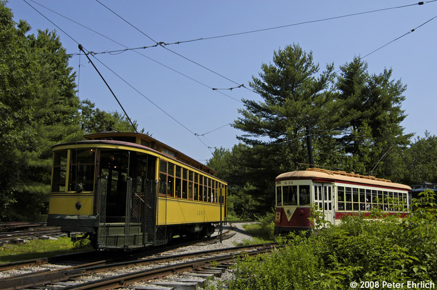 (232k, 864x574)<br><b>Country:</b> United States<br><b>City:</b> Kennebunk, ME<br><b>System:</b> Seashore Trolley Museum <br><b>Car:</b> Twin City Rapid Transit 1267 <br><b>Photo by:</b> Peter Ehrlich<br><b>Date:</b> 7/18/2008<br><b>Notes:</b> Twin City Rapid Transit 1267. At Talbot Park. With TARS 631.<br><b>Viewed (this week/total):</b> 4 / 402