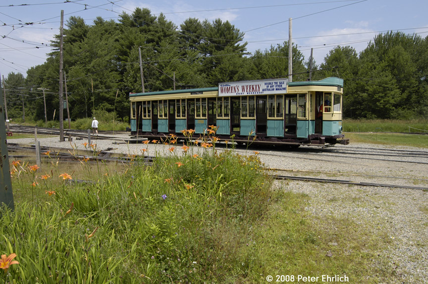(265k, 864x574)<br><b>Country:</b> United States<br><b>City:</b> Kennebunk, ME<br><b>System:</b> Seashore Trolley Museum <br><b>Car:</b>  1700 <br><b>Photo by:</b> Peter Ehrlich<br><b>Date:</b> 7/18/2008<br><b>Notes:</b> 1700 at Visitor center loop.<br><b>Viewed (this week/total):</b> 0 / 483