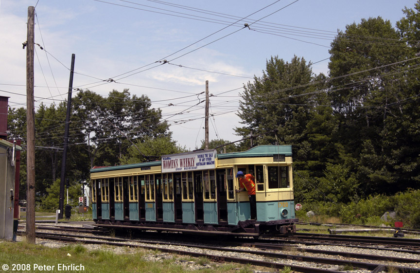 (224k, 864x561)<br><b>Country:</b> United States<br><b>City:</b> Kennebunk, ME<br><b>System:</b> Seashore Trolley Museum <br><b>Car:</b>  1700 <br><b>Photo by:</b> Peter Ehrlich<br><b>Date:</b> 7/18/2008<br><b>Notes:</b> 1700 at Riverside barn.<br><b>Viewed (this week/total):</b> 3 / 541