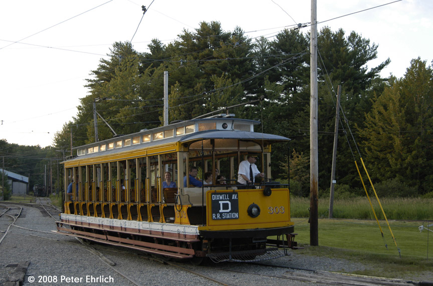 (201k, 864x572)<br><b>Country:</b> United States<br><b>City:</b> Kennebunk, ME<br><b>System:</b> Seashore Trolley Museum <br><b>Car:</b> Connecticut Company 303 <br><b>Photo by:</b> Peter Ehrlich<br><b>Date:</b> 7/18/2008<br><b>Notes:</b> Connecticut Co. open car 303. At Visitor Center.<br><b>Viewed (this week/total):</b> 7 / 663