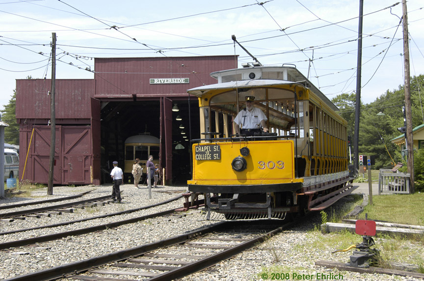 (237k, 864x574)<br><b>Country:</b> United States<br><b>City:</b> Kennebunk, ME<br><b>System:</b> Seashore Trolley Museum <br><b>Car:</b> Connecticut Company 303 <br><b>Photo by:</b> Peter Ehrlich<br><b>Date:</b> 7/18/2008<br><b>Notes:</b> Connecticut Co. open car 303. At Morrison inbound.<br><b>Viewed (this week/total):</b> 0 / 426