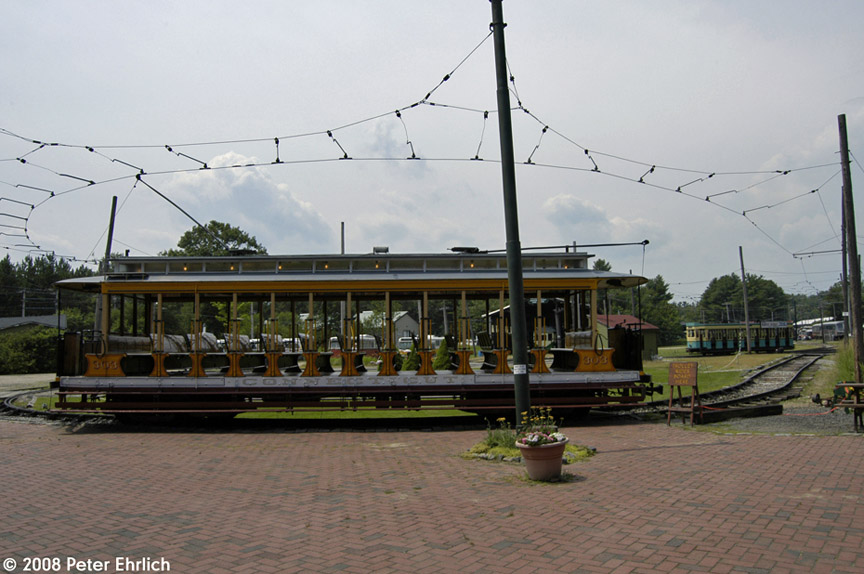 (169k, 864x574)<br><b>Country:</b> United States<br><b>City:</b> Kennebunk, ME<br><b>System:</b> Seashore Trolley Museum <br><b>Car:</b> Connecticut Company 303 <br><b>Photo by:</b> Peter Ehrlich<br><b>Date:</b> 7/18/2008<br><b>Notes:</b> Connecticut Co. open car 303. At Visitor Center.<br><b>Viewed (this week/total):</b> 0 / 319