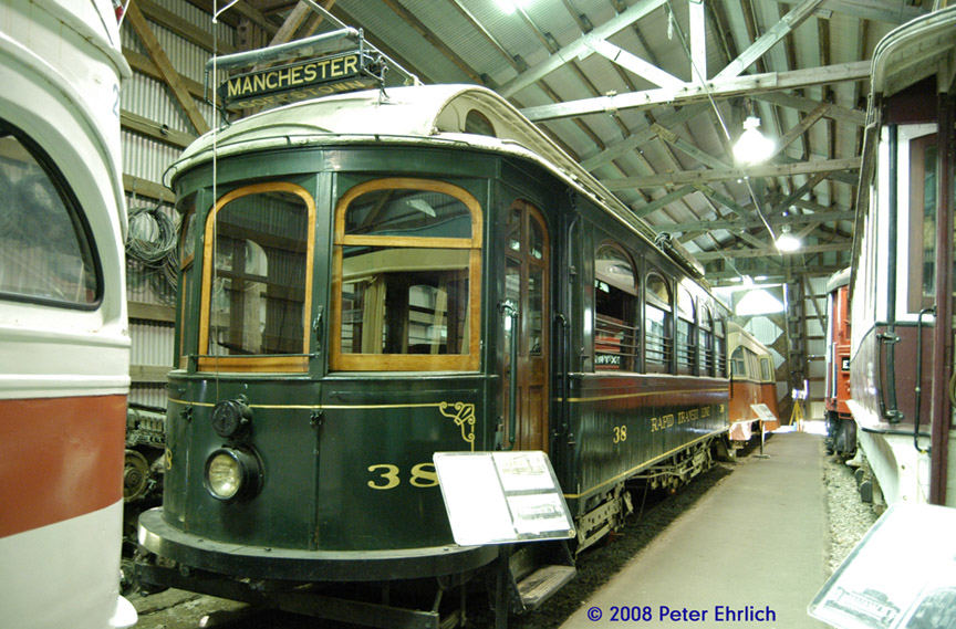 (223k, 864x569)<br><b>Country:</b> United States<br><b>City:</b> Kennebunk, ME<br><b>System:</b> Seashore Trolley Museum <br><b>Car:</b> Manchester Street Railway 38 <br><b>Photo by:</b> Peter Ehrlich<br><b>Date:</b> 7/18/2008<br><b>Notes:</b> Manchester St. Ry 38. Riverside Carhouse.<br><b>Viewed (this week/total):</b> 0 / 431