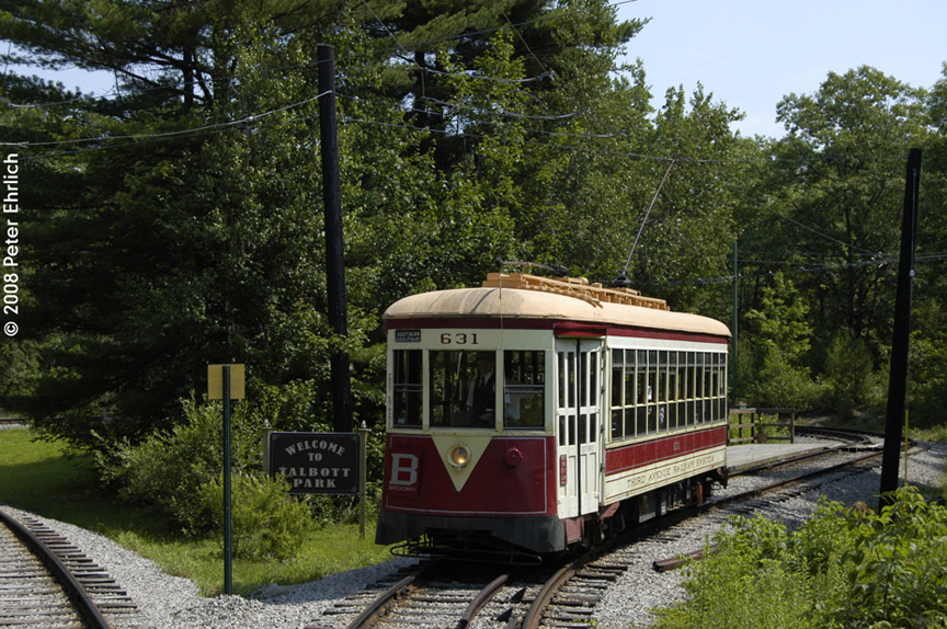 (259k, 864x574)<br><b>Country:</b> United States<br><b>City:</b> Kennebunk, ME<br><b>System:</b> Seashore Trolley Museum <br><b>Car:</b> TARS 631 <br><b>Photo by:</b> Peter Ehrlich<br><b>Date:</b> 7/18/2008<br><b>Notes:</b> Third Avenue Railway System Huffliner: 631. At Talbot Park.<br><b>Viewed (this week/total):</b> 1 / 553