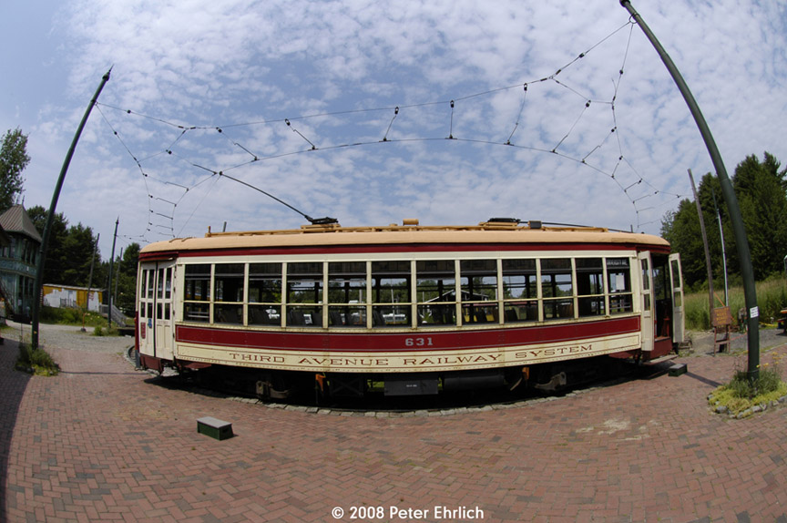 (189k, 864x574)<br><b>Country:</b> United States<br><b>City:</b> Kennebunk, ME<br><b>System:</b> Seashore Trolley Museum <br><b>Car:</b> TARS 631 <br><b>Photo by:</b> Peter Ehrlich<br><b>Date:</b> 7/18/2008<br><b>Notes:</b> Third Avenue Railway System Huffliner: 631. At Visitor Center.<br><b>Viewed (this week/total):</b> 0 / 362