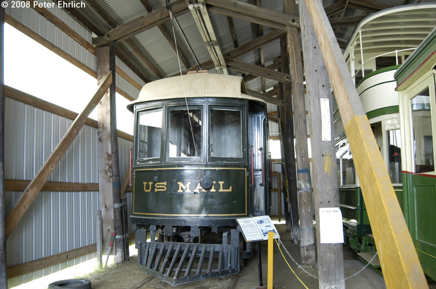 (205k, 864x574)<br><b>Country:</b> United States<br><b>City:</b> Kennebunk, ME<br><b>System:</b> Seashore Trolley Museum <br><b>Car:</b> Portsmouth, Dover, & York 108 <br><b>Photo by:</b> Peter Ehrlich<br><b>Date:</b> 7/18/2008<br><b>Notes:</b> Mail Car-Portsmouth, Dover & York St. Ry. 108. South Boston Carhouse.<br><b>Viewed (this week/total):</b> 1 / 284