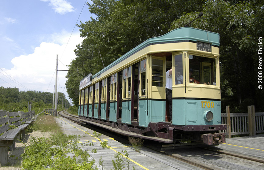 (218k, 864x556)<br><b>Country:</b> United States<br><b>City:</b> Kennebunk, ME<br><b>System:</b> Seashore Trolley Museum <br><b>Car:</b>  1700 <br><b>Photo by:</b> Peter Ehrlich<br><b>Date:</b> 7/18/2008<br><b>Notes:</b> 1700 at Meserve, Inbound.<br><b>Viewed (this week/total):</b> 1 / 678