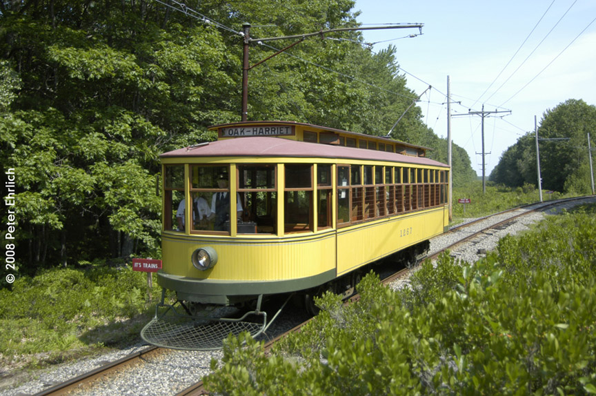 (248k, 864x574)<br><b>Country:</b> United States<br><b>City:</b> Kennebunk, ME<br><b>System:</b> Seashore Trolley Museum <br><b>Car:</b> Twin City Rapid Transit 1267 <br><b>Photo by:</b> Peter Ehrlich<br><b>Date:</b> 7/18/2008<br><b>Notes:</b> 1267 south of Talbot Park.<br><b>Viewed (this week/total):</b> 1 / 327