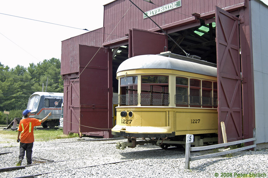 (219k, 864x574)<br><b>Country:</b> United States<br><b>City:</b> Kennebunk, ME<br><b>System:</b> Seashore Trolley Museum <br><b>Car:</b>  1227 <br><b>Photo by:</b> Peter Ehrlich<br><b>Date:</b> 7/18/2008<br><b>Notes:</b> Cleveland Railways Center-Entrance 1227. Pulling out from Riverside Barn.<br><b>Viewed (this week/total):</b> 3 / 610