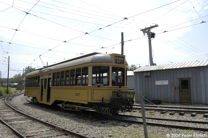 (183k, 864x574)<br><b>Country:</b> United States<br><b>City:</b> Kennebunk, ME<br><b>System:</b> Seashore Trolley Museum <br><b>Car:</b>  1227 <br><b>Photo by:</b> Peter Ehrlich<br><b>Date:</b> 7/18/2008<br><b>Notes:</b> Cleveland Railways Center-Entrance 1227. Pulling out from Riverside Barn.<br><b>Viewed (this week/total):</b> 0 / 472