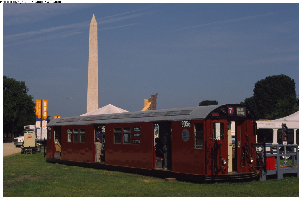 (132k, 1044x692)<br><b>Country:</b> United States<br><b>City:</b> New York<br><b>System:</b> New York City Transit<br><b>Location:</b> Smithsonian Folklife Festival, The Mall, Washington, D.C.<br><b>Car:</b> R-33 Main Line (St. Louis, 1962-63) 9056 <br><b>Photo by:</b> Chao-Hwa Chen<br><b>Date:</b> 6/30/2001<br><b>Viewed (this week/total):</b> 5 / 2270
