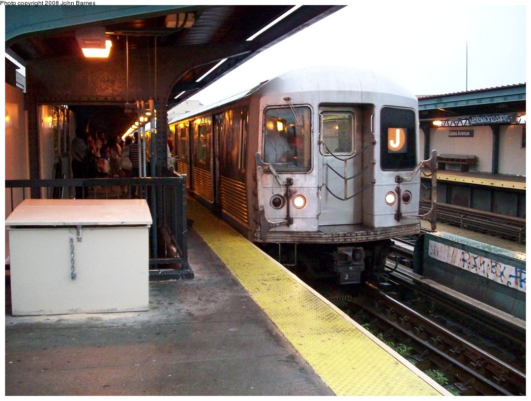 (227k, 1044x788)<br><b>Country:</b> United States<br><b>City:</b> New York<br><b>System:</b> New York City Transit<br><b>Line:</b> BMT Nassau Street/Jamaica Line<br><b>Location:</b> Gates Avenue <br><b>Route:</b> J<br><b>Car:</b> R-42 (St. Louis, 1969-1970)  4671 <br><b>Photo by:</b> John Barnes<br><b>Date:</b> 7/27/2008<br><b>Viewed (this week/total):</b> 1 / 985
