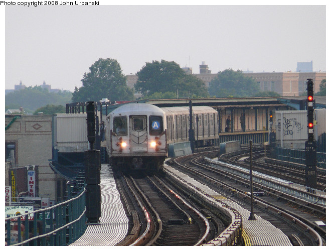 (123k, 660x500)<br><b>Country:</b> United States<br><b>City:</b> New York<br><b>System:</b> New York City Transit<br><b>Line:</b> IND Fulton Street Line<br><b>Location:</b> 104th Street/Oxford Ave. <br><b>Route:</b> A<br><b>Car:</b> R-42 (St. Louis, 1969-1970)  4572 <br><b>Photo by:</b> John Urbanski<br><b>Date:</b> 7/26/2008<br><b>Viewed (this week/total):</b> 1 / 1706