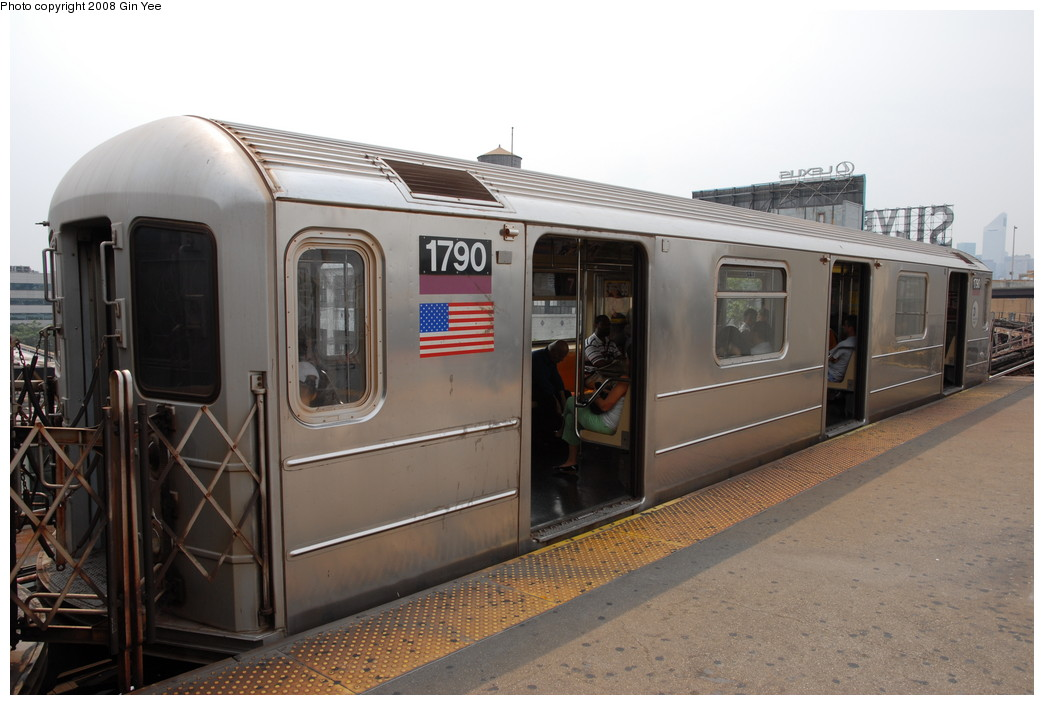 (197k, 1044x705)<br><b>Country:</b> United States<br><b>City:</b> New York<br><b>System:</b> New York City Transit<br><b>Line:</b> IRT Flushing Line<br><b>Location:</b> Queensborough Plaza <br><b>Route:</b> 7<br><b>Car:</b> R-62A (Bombardier, 1984-1987)  1790 <br><b>Photo by:</b> Gin Yee<br><b>Date:</b> 7/30/2008<br><b>Viewed (this week/total):</b> 1 / 1358