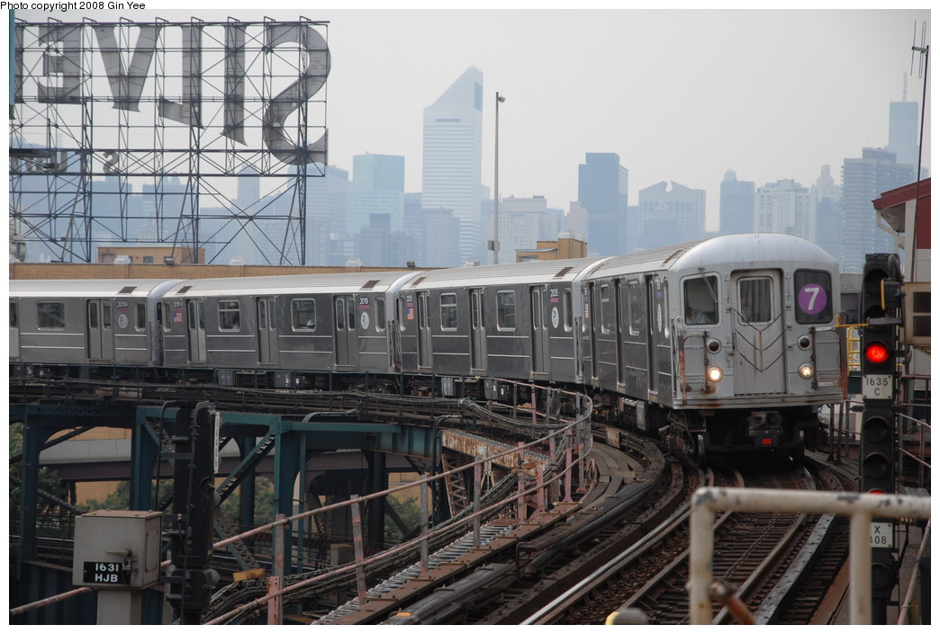 (231k, 1044x705)<br><b>Country:</b> United States<br><b>City:</b> New York<br><b>System:</b> New York City Transit<br><b>Line:</b> IRT Flushing Line<br><b>Location:</b> Queensborough Plaza <br><b>Route:</b> 7<br><b>Car:</b> R-62A (Bombardier, 1984-1987)  1968 <br><b>Photo by:</b> Gin Yee<br><b>Date:</b> 7/30/2008<br><b>Viewed (this week/total):</b> 3 / 1137