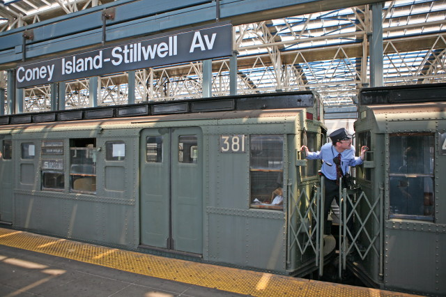 (122k, 640x426)<br><b>Country:</b> United States<br><b>City:</b> New York<br><b>System:</b> New York City Transit<br><b>Location:</b> Coney Island/Stillwell Avenue<br><b>Route:</b> Transit Museum Nostalgia Train<br><b>Car:</b> R-1 (American Car & Foundry, 1930-1931) 381 <br><b>Photo by:</b> Kieran J. O'Hagan<br><b>Date:</b> 7/13/2008<br><b>Notes:</b> Nostalgia train with conductor.<br><b>Viewed (this week/total):</b> 1 / 1593