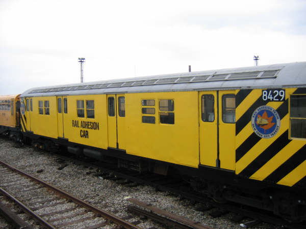 (34k, 600x450)<br><b>Country:</b> United States<br><b>City:</b> New York<br><b>System:</b> New York City Transit<br><b>Location:</b> Coney Island Yard<br><b>Car:</b> Rail Adhesion Train (R-30/R-33 Rebuilds) 8429 <br><b>Photo by:</b> Professor J<br><b>Date:</b> 4/12/2008<br><b>Notes:</b> Rail adhesion train.<br><b>Viewed (this week/total):</b> 1 / 785