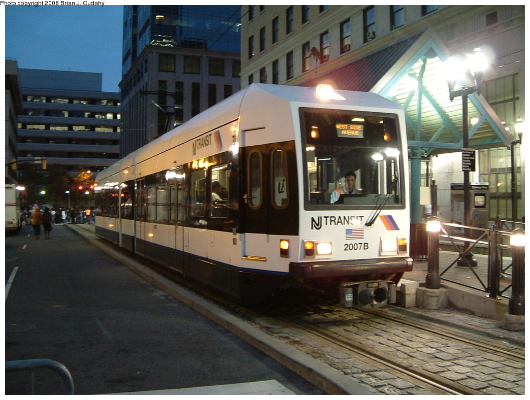 (229k, 1044x788)<br><b>Country:</b> United States<br><b>City:</b> Jersey City, NJ<br><b>System:</b> Hudson Bergen Light Rail<br><b>Location:</b> Exchange Place <br><b>Car:</b> NJT-HBLR LRV (Kinki-Sharyo, 1998-99)  2007 <br><b>Photo by:</b> Brian J. Cudahy<br><b>Date:</b> 2008<br><b>Viewed (this week/total):</b> 0 / 659